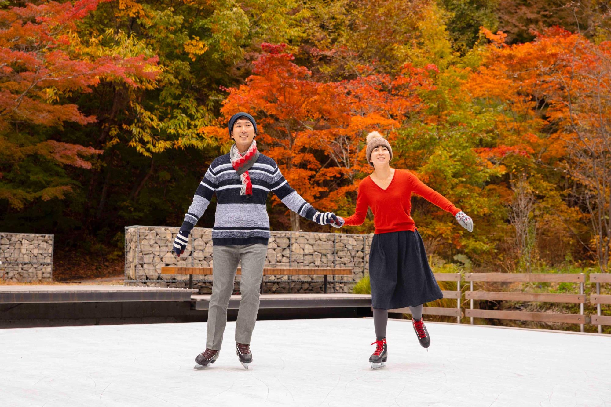 紅葉のスケートリンク